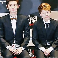 """I'm not entirely sure why this is funny...  - Chanyeol & Xiumin"""
