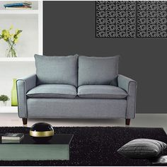 This loveseat comes in several modern and distinctive colors and features firm cushioning. It is built in a contemporary style to accompa31.5 inches high x 52 inches wide x 31.5inches long.$329