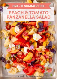 This Peach Panzanella Salad is a riot of colors, textures, and flavors. It's a dish that illustrates why simple dishes made with the freshest produce can be so satisfying! Healthy Salads, Healthy Recipes, Meal Recipes, Delicious Recipes, Dessert Recipes, Desserts, Zucchini Salad, Summer Tomato, Ripe Peach