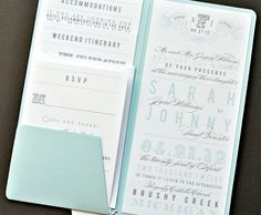 As Seen on Style Me Pretty - Chloe Pocket Wedding Invitation Suite with Belly Band - Aqua, Grey and White (Customizable). $6.90, via Etsy.