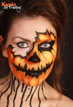 Pretty Scary Halloween Pumpkin Makeup Ideas - Chicbetter Inspiration for Modern Women Halloween Pumpkin Makeup, Scary Halloween Pumpkins, Creepy Halloween Makeup, Halloween Art, Halloween Facepaint Kids, Kids Halloween Face Paint, Adult Face Painting, Pumpkin Faces, Halloween Stuff