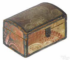 Pennsylvania wallpaper on poplar trinket box, early 19th c.