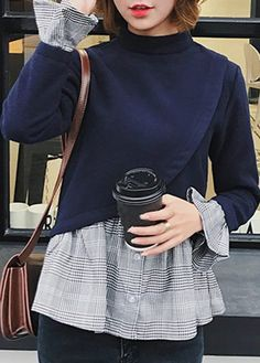 Long Sleeve Mock Neck Patchwork Navy Blue Blouse on sale only US$30.64 now, buy cheap Long Sleeve Mock Neck Patchwork Navy Blue Blouse at liligal.com