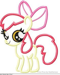 Apple Blossom Little Horse Machine Applique Embroidery Design, mutliple sizes, including 4 inch