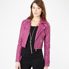 Pink cropped leather look biker