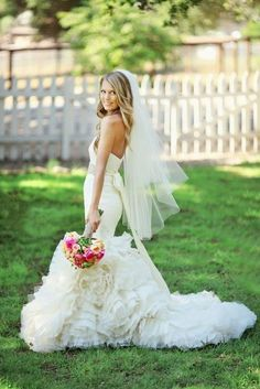 From the bride's beautiful dress, to the bright bridal bouquet. this is perfection! Love the veil length Wedding Dj, Wedding Veils, Dream Wedding, Wedding Dresses, Mermaid Wedding, Beautiful Bride, Beautiful Dresses, Beautiful Boys, The Bride