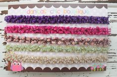 NEW! Sparkly beaded boho headbands. Available in plum, dark pink, mauve, mint and nude. These are stunning!! $12.95 plus shipping each. Made by Danica's Chic Bowtique.
