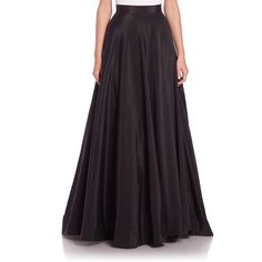 NHA KHANH Angie Faille Long Skirt ($660) ❤ liked on Polyvore featuring skirts, apparel & accessories, black, black full skirt, ankle length skirts, long black maxi skirt, long maxi skirts and floor length black skirt