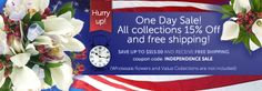 Happy of July! Happy 4 Of July, 4th Of July, Affordable Wedding Flowers, One Day Sale, Ways To Save, Fresh Flowers, Flower Arrangements, Wedding Venues, Names