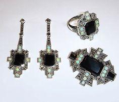925 Sterling Silver Jewelry  Earrings, Brooch, Ring Art Deco Style Theodor Fahrner Style Onyx, Opal, Marcasite