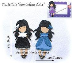 Decorazioni gomma crepla + feltro e pannolenci, bamboline Gorjuss cornice fiori fustellati
