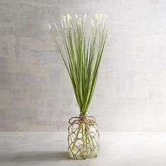 For decor that brings the coastal trend into any room, we have you covered. Our handcrafted arrangement sports a stand of faux grasses, and the glass vase lands it firmly in the coastal camp, with knotted rope basketry that adds a nautical flair.