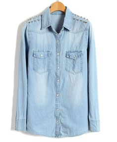 Spiked Shoulder Denim Shirts   Repin, like, share and follow me! :)