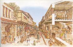 Reconstruction of the Via dell' Abbondanza. Pompeii