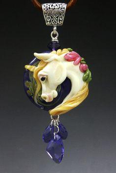 Unicorn Valley handmade lampwork sculpture horse pendant :) SRA whoa