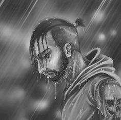 Rain  #photoshop #digitalpainting #art #ilustration #blackandwhite #rain #man