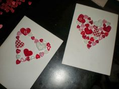 DIY Valentines card with buttons. I think I'm going to use white round button on red paper instead because I have a tones of them.