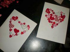 button heart DIY Valentines card.