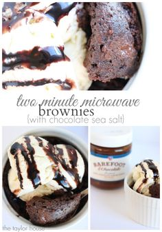 Delicious Gooey and Chocolaty Two Minute Microwave Brownie in a Mug with a Chocolate Sea Salt center!