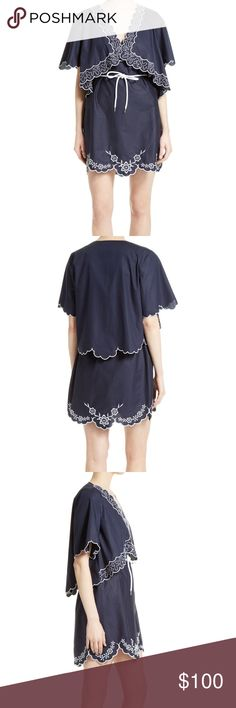 """See By Chloe Embroidered Cotton Poplin Dress 42 Playful embroidery embellishes this crisp cotton poplin dress that's styled with a cape-like popover for a bit of charming volume and movement. A casual rope tied jauntily around the waist ensures the silhouette still highlights the figure to flattering effect. - 35"""" length   - V-neck - Short sleeves - Tie waist - Lined - 100% cotton - Dry clean - Imported - via C See by Chloe Dresses"""