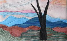 Mountain Sunset Handmade Fabric Postcard, Quilted Greeting Card, Postcard Art by SewUpscale on Etsy