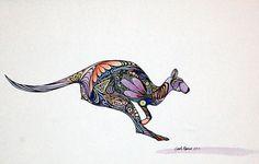 """Kangaroo commodification"" - watercolor and ink, in Commodification series Christmas Decorations Australian, Australian Christmas, Little Tattoos, Love Tattoos, Tatoos, Australia Travel, Western Australia, Aboriginal Tattoo, Aboriginal Art Animals"