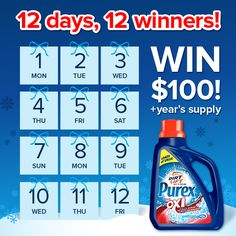12 days of giveaways! Enter to WIN $100 + Purex plus Oxi from Purex.http://go.purex.com/7EhZ http://www.purex.com/promotions/12-days-of-giveaways/