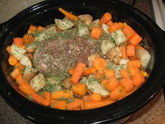 Easy Gluten Free Meals & Slow Cooker Dinners: Pot Roast with Potatoes & Carrots in the slow cooker