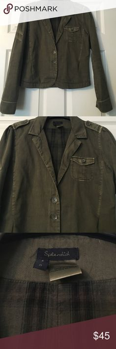 Splendid Jacket Army jacket. Button detail on shoulder, one pocket on the front and two button closure. Size medium. Splendid Jackets & Coats