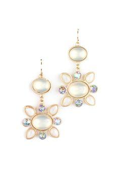 Cream Floral Stone Earrings