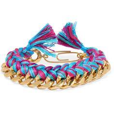 Aurélie Bidermann - Do Brasil Gold-plated Braided Cotton Bracelet (8.045 RUB) ❤ liked on Polyvore featuring jewelry, bracelets, pink, gold plated bangles, boho jewellery, cotton jewelry, bohemian jewelry and aurélie bidermann