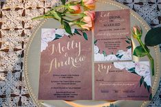 Love these vintage floral wedding invitations with gold calligraphy!