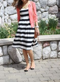 More youthful  Striped dress with a cardigan, necklace and flats.