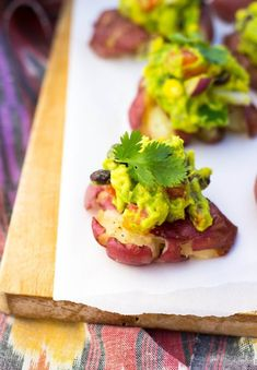 Smashed Potatoes with Loaded Guacamole. The perfect recipe for all your appetizer needs! {gluten free, vegan}