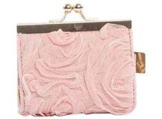 Porte-monnaie rose à fleurs en tulle