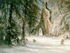 Lodewijk Franciscus Hendrik 'Louis' Apol (Den Haag 1850-1936) Kerkruïne op Oud Eik en Duinen bij winter - Kunsthandel Simonis en Buunk, Ede (Nederland).