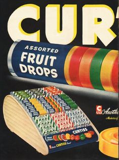"""1948 CURTISS CANDY vintage magazine advertisement """"Assorted Fruit Drops"""" ~ Another Curtiss Candy - Makers of Baby Ruth and Butterfinger Candy Bars ~"""