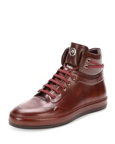 Leather High-Top Sneaker, Burgundy by Stefano Ricci at Neiman Marcus.