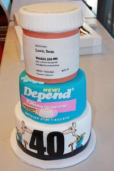 HA! Geriatric 40th Birthday Cake over the hill remedy cake. Someone is SO getting this at some point...just not sure who yet... Catherine Williams, can u make this????
