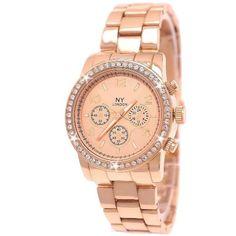 NY London Designer Damenuhr,Damen Strass Uhr in Chronograph Optik,Rosegold