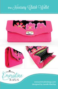 **** You are purchasing a PDF sewing pattern only, not the finished product. You must Adobe Reader to open this file.  The Necessary Clutch Wallet isn't just your ordinary wallet. Carry your cell phone/mobile, cheques, cash, cards, coins and still have room for your favorite lipstick or even personal items. With its closed ends, everything is safe and secure and there is never any worry about anything sliding out. Secure your clutch wallet with either a snap fastener or a professional lo...