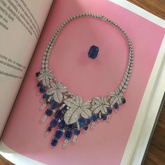 Sterlé Sapphire and Diamond Foliate Necklace, c.1950, sold at Christie's in 1986 #ChristiesJewels #Sterle