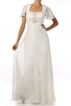 New Sheer Bell Sleeve Hand-Beaded Sequin Chiffon Bridal Wedding Gown Dress Ivory