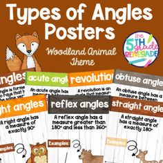 Types of Angles Math Posters with a Woodland Animal Watercolor Theme Types Of Angles, Woodland Animals Theme, Math Poster, Watercolor Animals, Posters, Poster, Postres, Banners, Movie Posters