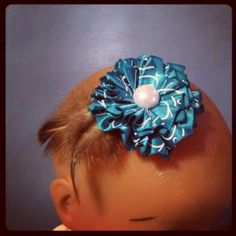 Turquoise and White Flower hair clip 183  - $4