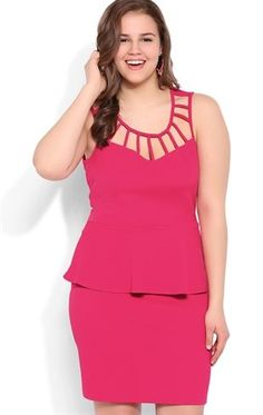 Plus Size Peplum Bodycon Dress with Latice Neckline #peplum #pink #hotpink #skater #latice #jean #denim  #debshops #plussize #fashion #cute #stylish #spring