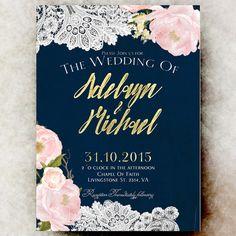 Rustic Wedding Invitation printable Navy by DivineGiveDigital