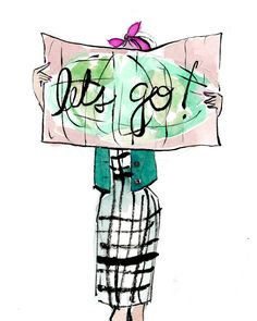 Travel Art Print: Let's Go! Map Girl
