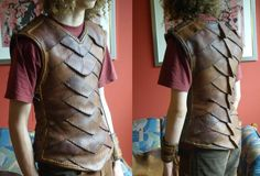 Argonian Armor by ~mind-traveler on deviantART. Because of how soft it is, this is less a piece of armor and more a nicely detailed jerkin. The spikes on the back are what identify it as an Argonian garment, but eliminate those and it could be good for any kind of lightly-dressed character. (The red t-shirt underneath makes it look almost Roman, so I guess this Argonian sided with Tellius?)