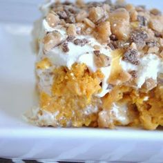 Category: Dessert This Pumpkin Better Than Sex Cake is extremely rich, but so very good. Spice cake made with pumpkin, poked and filled with sweetened condensed milk. Whipped topping, caramel sauce and candy pieces top it off. Canned Pumpkin Recipes, Pumpkin Cake Recipes, Poke Cake Recipes, Poke Cakes, Pumpkin Dessert, Cupcake Cakes, Dessert Recipes, Dump Cakes, Layer Cakes
